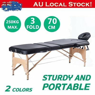 Wooden Portable Massage Table 3 Fold Beauty Therapy Bed Chair Waxing 70cm OZ RO