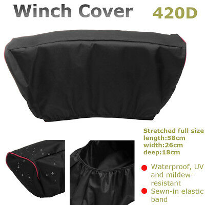 420D Winch Dust Cover Soft Black Waterproof For 5,000LB-13,000LB Trailer ATV SUV