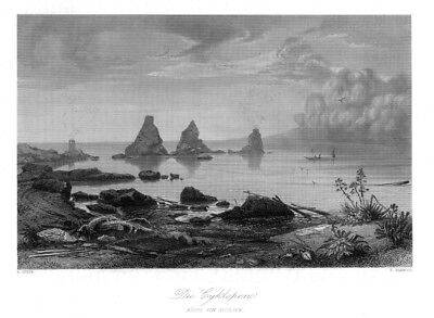 Zyklopeninseln, Isole dei Ciclopi, Sizilien, Italien,Original-Stahlstich ca.1850