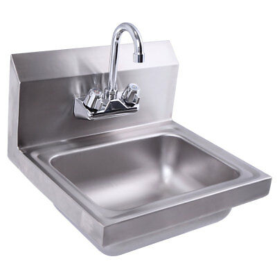 """Wall Mount Stainless Steel Hand Sink with Faucet and Strainer 17"""" x 15"""""""