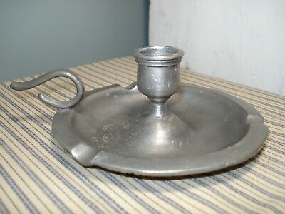 Antique Pewter Candle Candlestick Finger Loop with Hallmarks