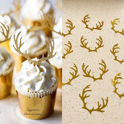 Reindeer Christmas party cupcake topper with antlers Rudolf the red nose
