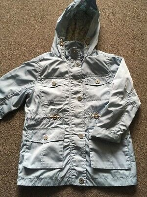 Girls Hooded Light Blue Light Weight Jacket Coat Age 7 Years By Next