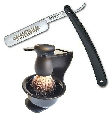 DOVO Solingen Straight Razor with Badger Shaving Brush Stand and Soap Bowl