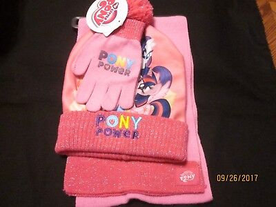 new GIRLS 3 Pc. hat GLOVES scarf SET my LITTLE PONY pink ACRYLIC warm POM POM OS