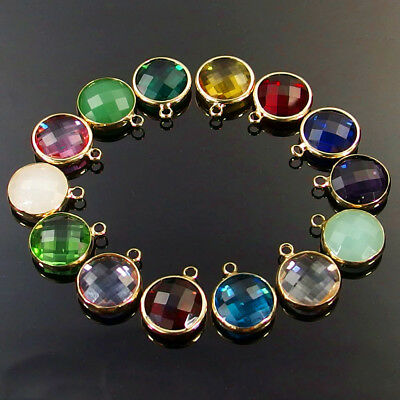 14mm 16mm round gold plated multi color faceted Czech glass beads pendants 10Pcs