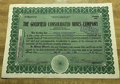 the Goldfield Consolidated Mines Company Stock Certificate 1959 Wyoming