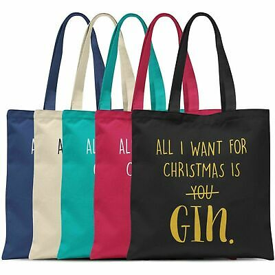 All I Want For Christmas Is GIN Tote Bag Cotton Shopper Shopping Xmas Gift NEW