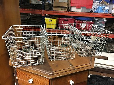 "c1950/60 gym wire locker baskets SET of 3 vintage retro storage - 13"" x 9"" x 8"""