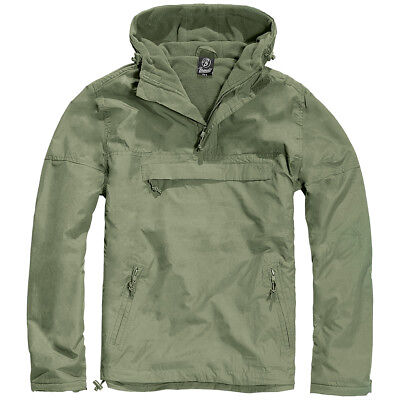 Brandit® Windbreaker Military Tactical Outdoor Hooded Anorak Mens Jacket - Olive