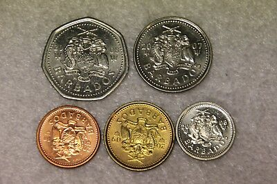 set of 5 different coins from Barbados
