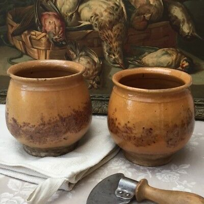"❤ Rare PAIR Antique FRENCH SMALL CONFIT POTS JARS Sponge Pattern POTTERY 4.75""H"