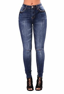 Women's Ladies Extreme Ripped Sexy High Waisted Denim Jeans Jegging Pant UK 6-16