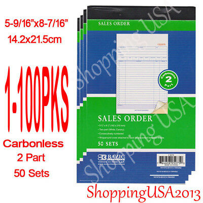 1-100 Sales Order Book Receipt Invoice Cash Rent 50 Sets 2 Part Duplicate