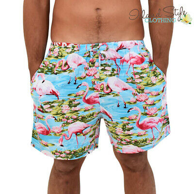 Turquoise Flamingo Loud Mens Shorts Hawaiian