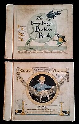 Set Antique The Funny Froggy & Childs Garden Bubble Books With (6) Records
