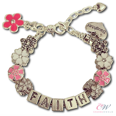 Girl's / Child's Silver Plated Charm Bracelet - Personalised Name & Pink Flowers
