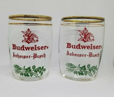 """Two Vintage Anheuser Busch Budweiser Rare Beer Gold Rimmed 3"""" × 2"""" Glass Cups"""