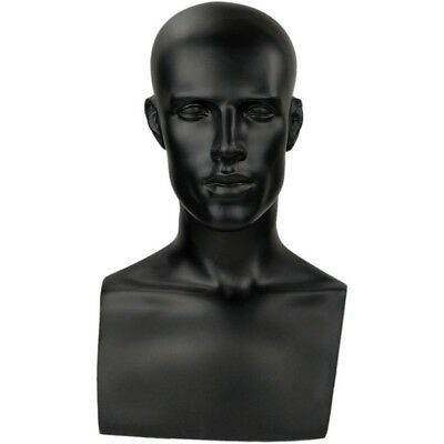 MN-521 Black Male Mannequin Abstract Head Form Display with Bust