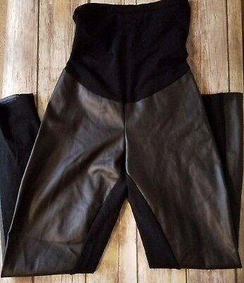 A Pea in the Pod Faux Leather Panel Black Stretch Maternity Pants sz Large