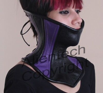 Bright Purple and Black Real Leather Over Mouth Neck Corset  S-XL