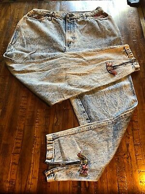 Vintage 80s Cuff Zip Hem Denim Pant 36 Acid Wash Jeans  90s Saved By The Bell