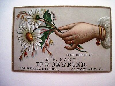 """Victorian Trade Card for E.R. Kant """"The Jeweler"""" w/ Hand Holding White Daisy *"""
