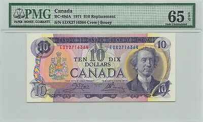 ✪ 1971 $10 Bank of Canada EDX Replacement 2716364 - 199.95 PMG Gem UNC 65 EPQ