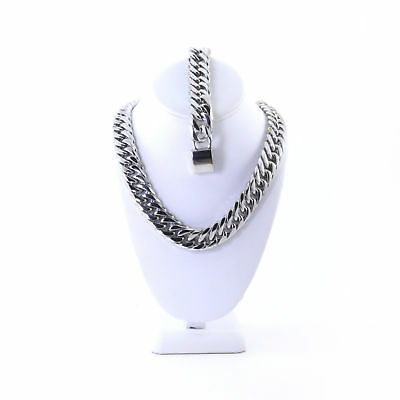 """Mens Stainless Steel Silver Tone Thick Miami Cuban Link Chain 36"""" 21Mm Bracelet"""