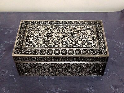 Argent Massif Indochine Grande Boite Chinese Export Silver Box 656 G