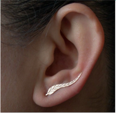 Climber Earrings Leaf Vintage Jewelry Exquisite Plated Feather Ear Piece 2 pairs
