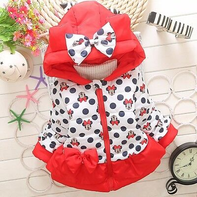 Girls Minnie Mouse Jacket Cartoon Lovely Design Coat Hooded Thick Cotton Outwear
