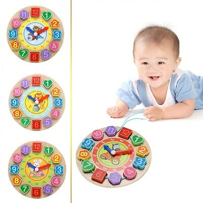 Baby Wooden Toy Clock Toddler Kids Educational Early Learning Development Toy