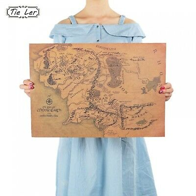 Earth Map Wall Sticker The Lord of The Rings Vintage Home Decoration Posters New