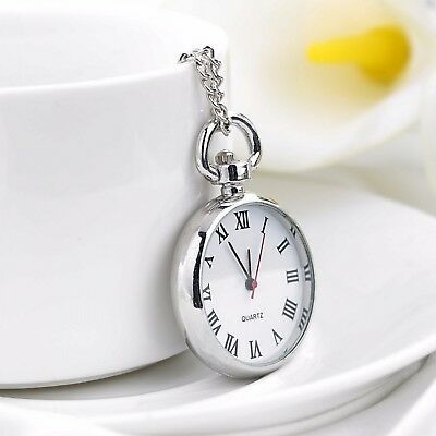 Pocket Watch Vintage Necklace Silver Chain Pendant Antique Style Gift Accessory
