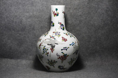 Ancient Chinese ceramics white luminous vase red-crowned cranes M8