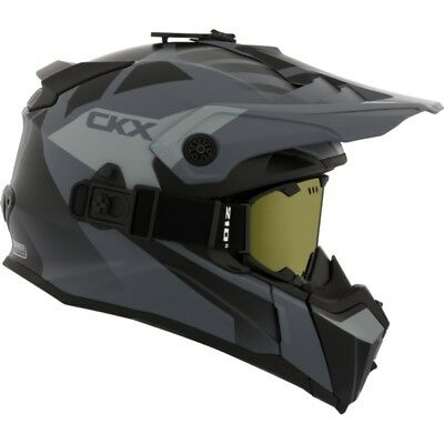 Ckx Titan Abyss Mat Grey Off Road Modular Snowmobile Winter Helmet Goggles 2018