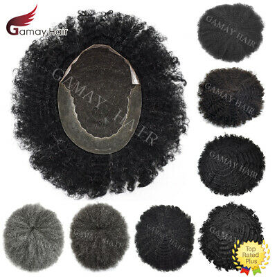 Afro Curl Mens Toupee French Lace Front African American PU Poly Skin Hairpieces