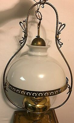 Vintage Brass And Hurricane Milk Glass  Chandelier W/a Sepulchre Belgique Lamp