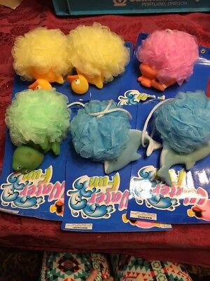 Lot of 6 Kids Toy Puff Mesh Bath Sponges with Animals Dolphins Frog Duck Sub NEW