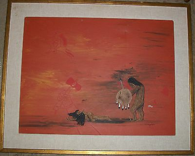 Oil Painting Charles Lovato Native American Indian Two Sons Burial Spirit In Sky