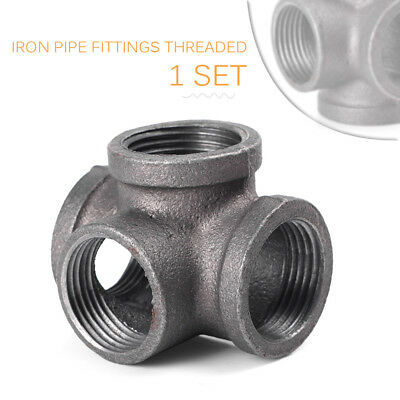 """3/4"""" Side Outlet Tee Elbow 90° Black Solid Malleable Iron Pipe Fittings Threaded"""