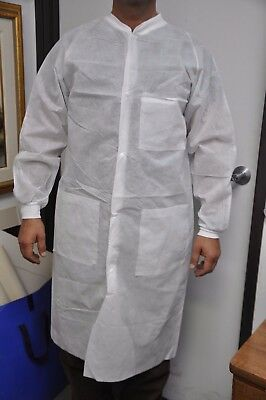 Medisca Unisex Disposable Knee Length Lab Coat, w/ Knitted Collar & Cuffs, Large