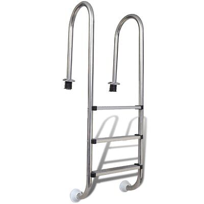 New Stainless Steel Swimming Pool Ladder In Above Ground 3 Step Non-skid 158cm