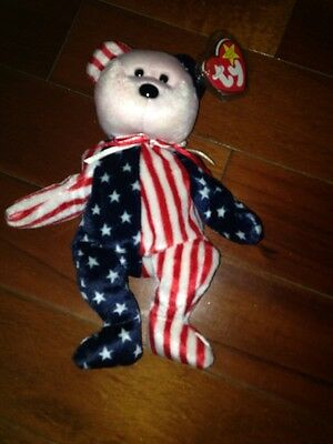 TY BEANIE BABY Beanie Babies 4th of JULY *1999 SPANGLE PINK FACE ERROR  RARE New
