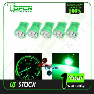5PCS Pure Green T10 Side Wedge 3020 6SMD Car LED Bulbs Guage Instrument Cluster