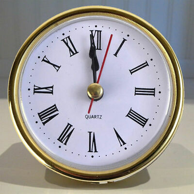 "2-1/2"" (65mm) QUARTZ CLOCK FIT-UP/Insert, Gold Trim, Roman Numeral Easy to Use."