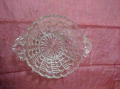 Pressed Glass Clear Open Candy Dish Thumbprint Scalloped Rim Filigree Handled