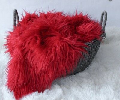 """Faux Fur Red Newborn photo props blanket size 18""""x20"""" photography!!"""