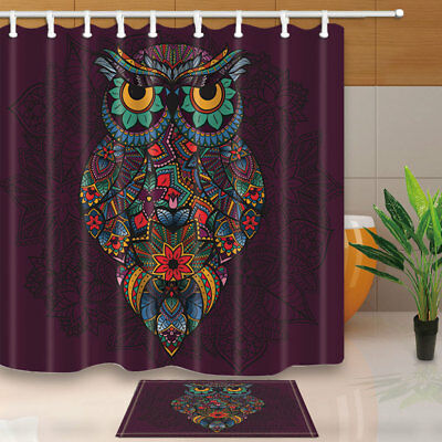 Owl Whih Flowers Bathroom Waterproof Fabric Shower Curtain With Hooks 71Inches